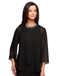 Alex Evenings Three Quarter Beaded Sheer Blouse Black