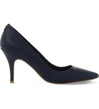 Dune Aeryn Mid Heel Flex Sole Court Shoes Navy Reptile