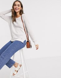 Hollister Crew Neck Long Sleeve Sweat In White