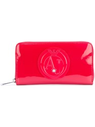 Armani Jeans Logo Embossed Zipped Wallet Women Leather Synthetic Resin One Size Red