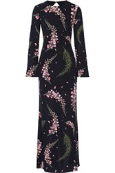Rachel Zoe Open Back Floral Print Silk Georgette Gown Black