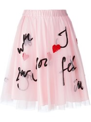 P.A.R.O.S.H. Sequin Embellished Tulle Skirt Pink And Purple