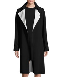 Theory Laurelwood Crepe Colorblock Trench Coat Black Classic Wht