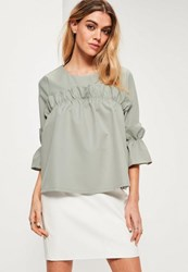 Missguided Green Ruffle Frill Trim Blouse