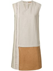 Nehera Contrast Panel Shift Dress Nude And Neutrals