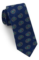 Ted Baker London Paisley Silk And Linen Tie Navy