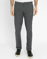 Scotch And Soda Grey Micro Houndstooth Wool Trousers