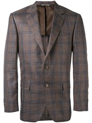 Canali Plaid Classic Blazer Men Silk Linen Flax Cupro Wool 54 Brown