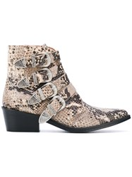 Toga Pulla Embossed Boots Women Leather 36 Nude Neutrals