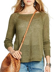 Polo Ralph Lauren Linen Open Knit Boatneck Sweater Green