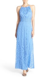 Women's Maggy London Burnout Lace Fit And Flare Maxi Dress