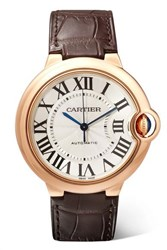 Cartier Ballon Bleu De 36Mm 18 Karat Pink Gold And Alligator Watch Rose Gold