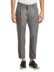 Saks Fifth Avenue Modern Pleated Cropped Wool Trousers Grey