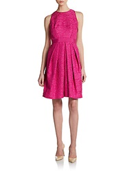 Carmen Marc Valvo Collection Pleated Jacquard Party Dress Fuchsia