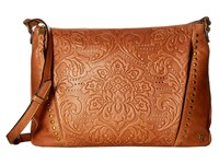 Elliott Lucca Mari Medium Crossbody Tobacco Vintage Floral Cross Body Handbags Brown