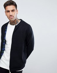Tokyo Laundry Check Lined Knitted Bomber Black