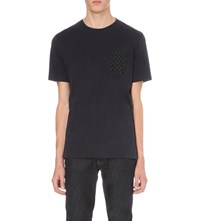 The Kooples Floral Patch Pocket Cotton Jersey T Shirt Navy