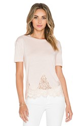 The Kooples Short Sleeved Jersey T Shirt With Lace Blush
