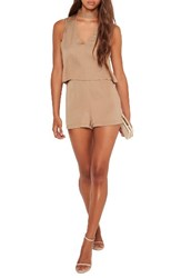 Missguided Women's Choker Neck Double Layer Romper Taupe
