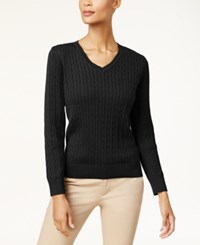 Karen Scott Cotton V Neck Cable Knit Sweater Created For Macy's Deep Black