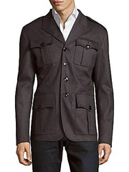 Dsquared Long Sleeve Wool Blend Utility Coat Grey
