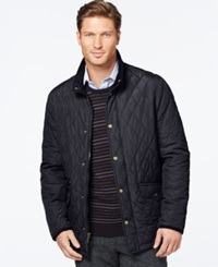 London Fog Diamond Quilted Coat Navy