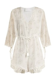 Athena Procopiou Romance In The Wind Silk Crepe Playsuit White Print