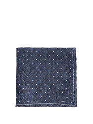 Brunello Cucinelli Polka Dot Print Linen Pocket Square Blue Multi