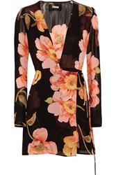 Reformation Floral Print Georgette Wrap Mini Dress Black