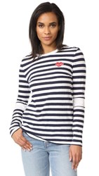 Zoe Karssen Sucker Long Sleeve Striped Tee Optical White Peacoat
