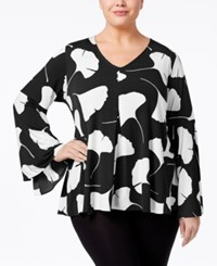 Alfani Plus Size Printed Bell Sleeve Top Only At Macy's Black Gingko Leaves