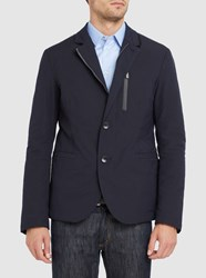 Armani Collezioni Navy Padded Lining Collar Detail Technical Jacket Blue