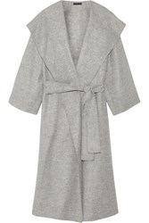The Row Lanja Oversized Woven Wrap Coat Light Gray