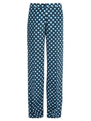 Miu Miu Heart Print Wide Leg Silk Trousers Blue Multi