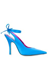 Attico Satin Heeled Pumps Blue