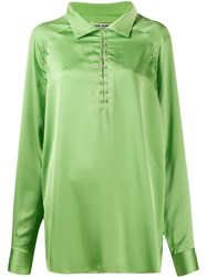 Jourden Satin Blouse Green