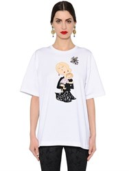 Dolce And Gabbana Oversize Mother Cotton Jersey T Shirt