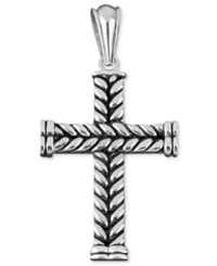 Macy's Men's Stainless Steel Necklace Braided Cross Pendant