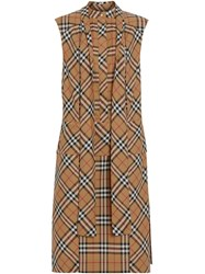 Burberry Vintage Check Cotton Tie Neck Dress Neutrals