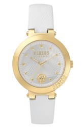 Versus By Versace Women's Lantau Island Leather Strap Watch 36Mm White Gold