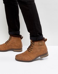 New Look Military Boot With Buckle In Tan