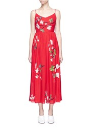Helen Lee Flying Bunny And Floral Print Silk Dress Red