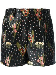 Red Valentino Floral Print Tailored Shorts Black