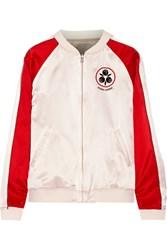 Opening Ceremony Yokai Reversible Embroidered Silk Satin Bomber Jacket Cream Red