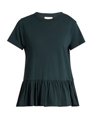 The Great Peplum Hem Distressed Cotton T Shirt Dark Blue