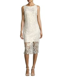 Alexia Admor Gold Shimmer Lace Midi Dress White