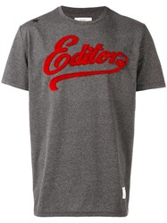 The Editor Embroidered Logo T Shirt Grey