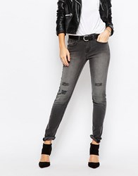 Jdy J.D.Y Skinny Jeans With Distressing Gray
