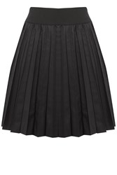 Oasis Pleated Faux Leather Skirt Black