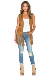 Blank Nyc Fringe Vest Brown